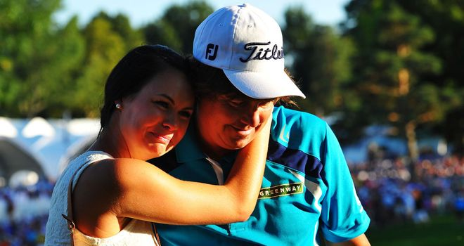 Jason Dufner: Celebrates victory on the 18th with wife Amanda