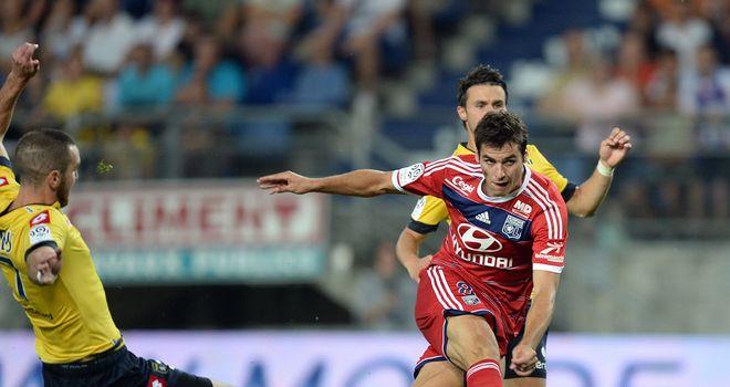 Yoann Gourcuff slams home Lyon's third goal