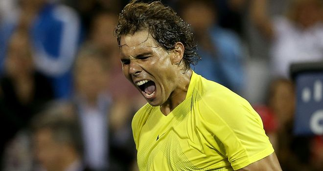 Rafael Nadal: Celebrates another hard fourth victory over Novak Djokovic