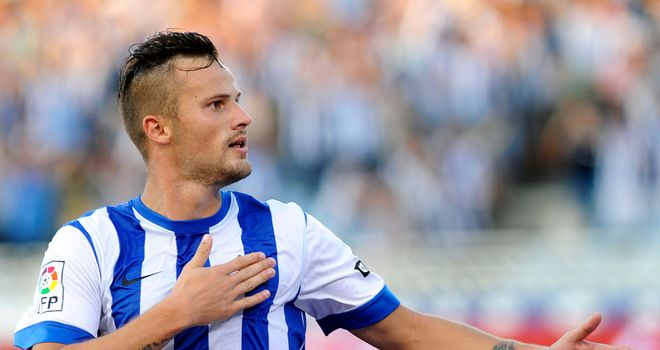 Haris Seferovic celebrates his goal for Real Sociedad