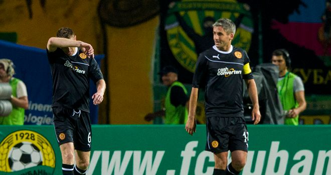 Stephen McManus (left) reacts after scoring an own goal