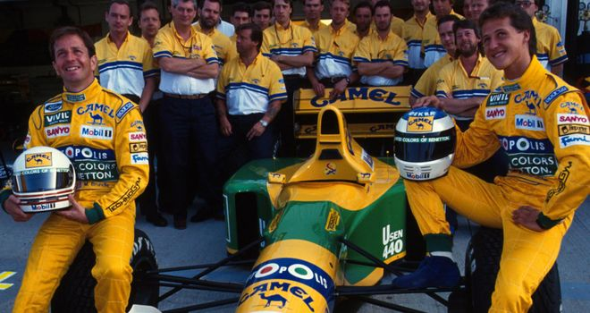 Martin Brundle alongside Michael Schumacher at Benetton in 1992