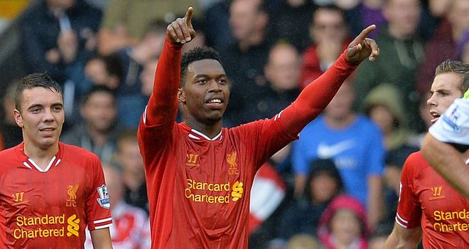 Liverpool's Daniel Sturridge celebrates scoring another goal