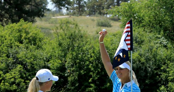 Anna Nordqvist celebrates her match-winning ace on 17