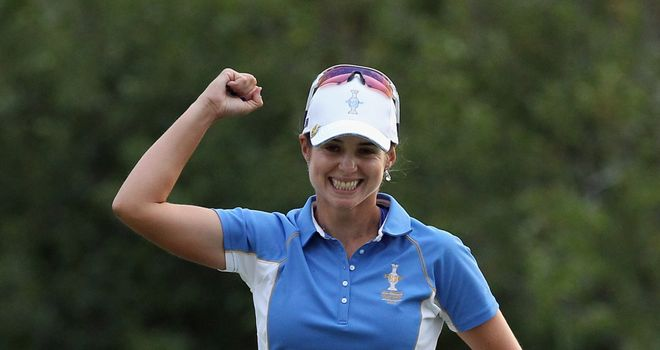 Beatriz Recari celebrates defeating Angela Stanford at the Solheim Cup.