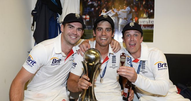 Graeme Swann celebrates last summer's Ashes win with Alastair Cook and James Anderson