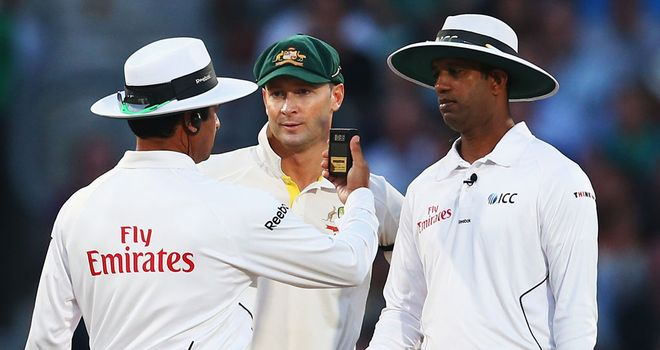 Michael Clarke making sure the umpires made the right decision late in the day