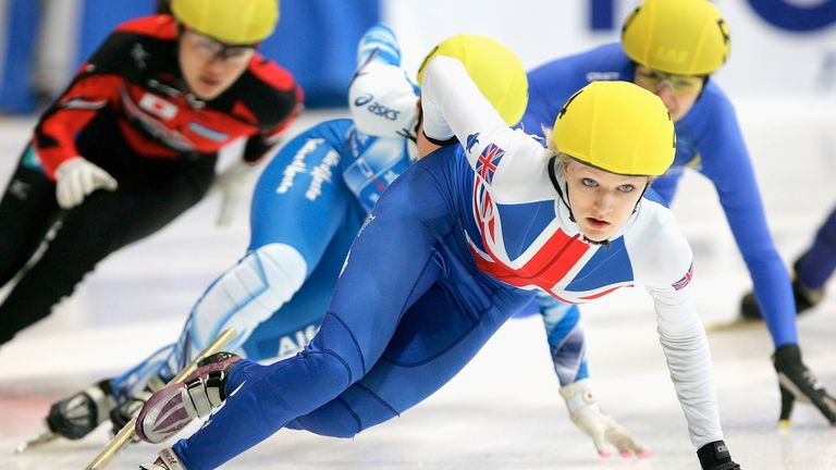 Elise Christie of UK competes in the Womens 1500M quarter finals during day one of the 2008 ISU World Short Track Speed Skating Championships at Gangneung icerink on March 7, 2008 in Gangneung, South Korea.
