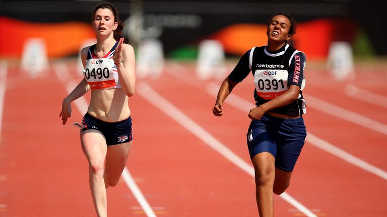 Olivia Breen of Great Britain in action along side Amal Youssef of Egypt in the Women's 100m T38 semi final during day four of the IPC Athletics World Championships on July 23, 2013 in Lyon, France.
