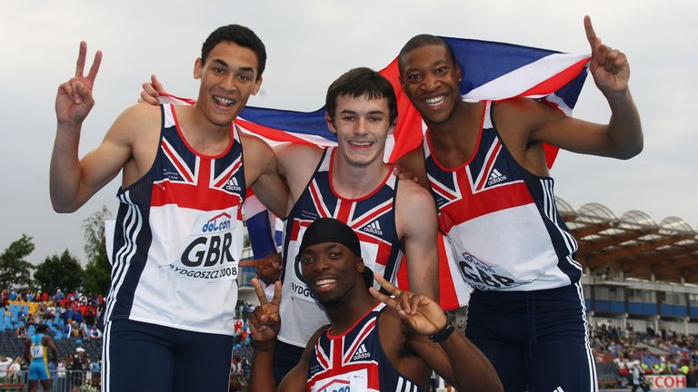 Louis Persent (top left),Jordan McGrath (top centre), Robert Davis (top right) and Nigel Levine (centre) bottom) celebrate winning silver in the men's 4x400m relay final during day six of the 12th IAAF World Junior Championships at the Zawisza Stadium on July 13, 2008 in Bydgoszcz, Poland.