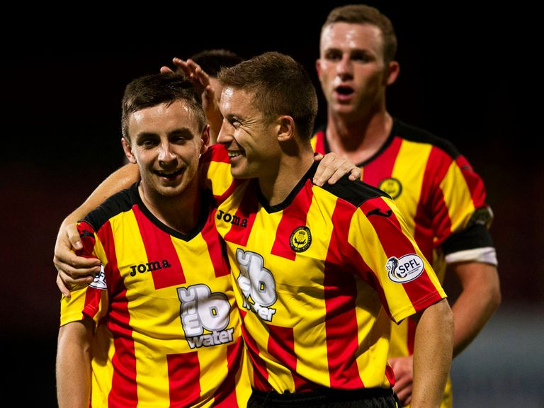 Partick celebrate during their victory over Cowdenbeath