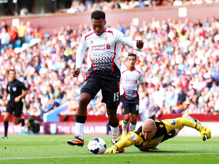 Daniel Sturridge scores for Liverpool against Aston Villa.