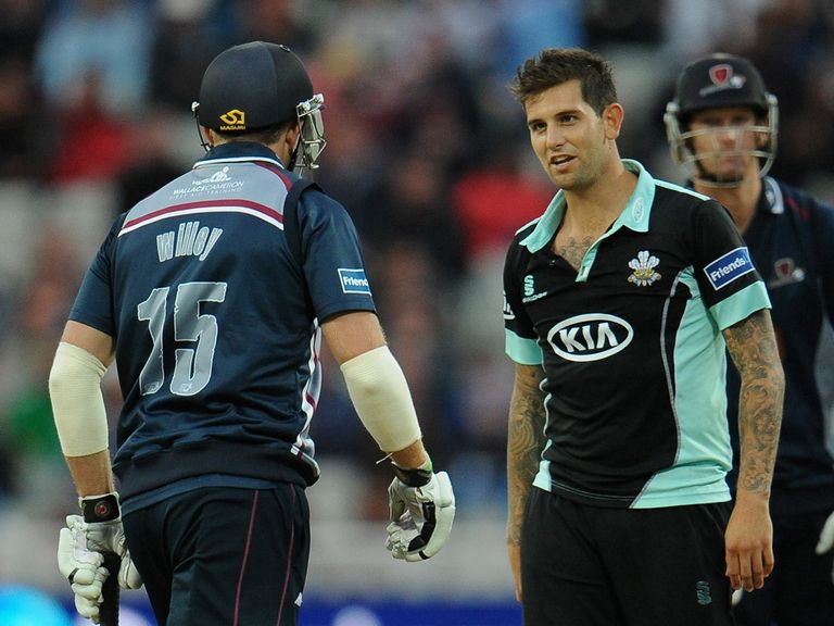 David Willey and Jade Dernbach exchange words during the final