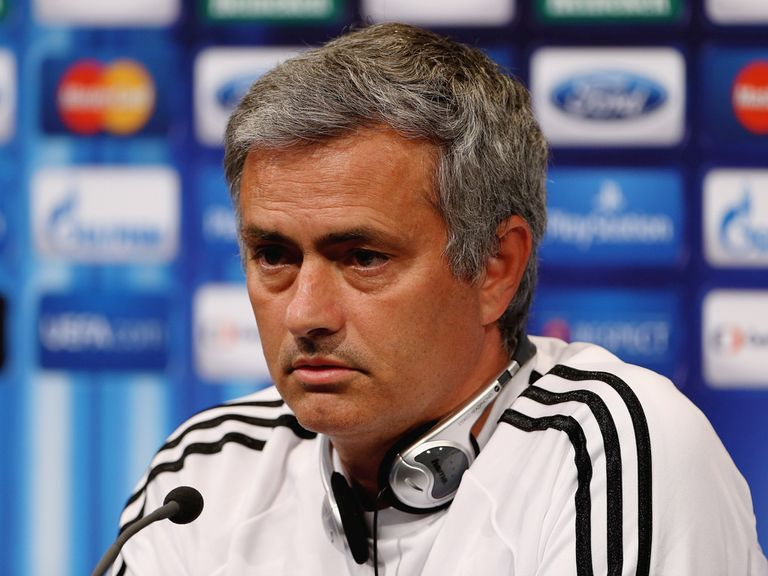 Jose Mourinho faces the press on Thursday.
