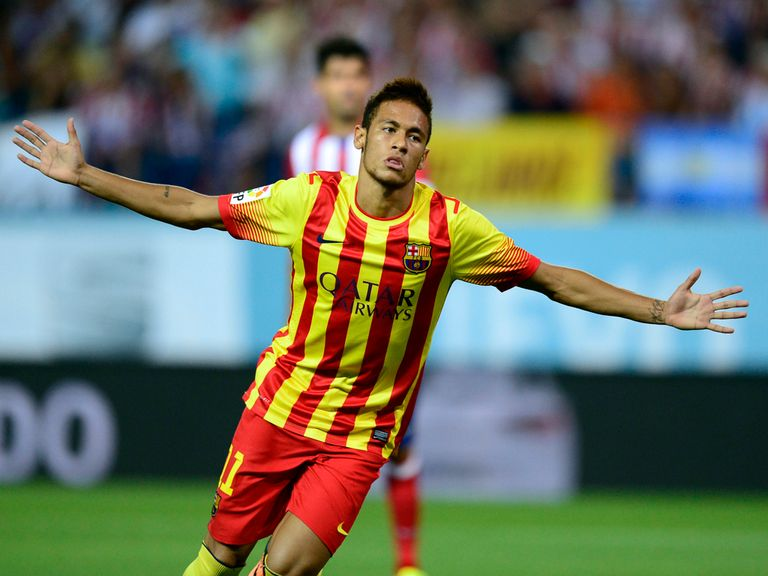 Neymar celebrates his first Barcelona goal