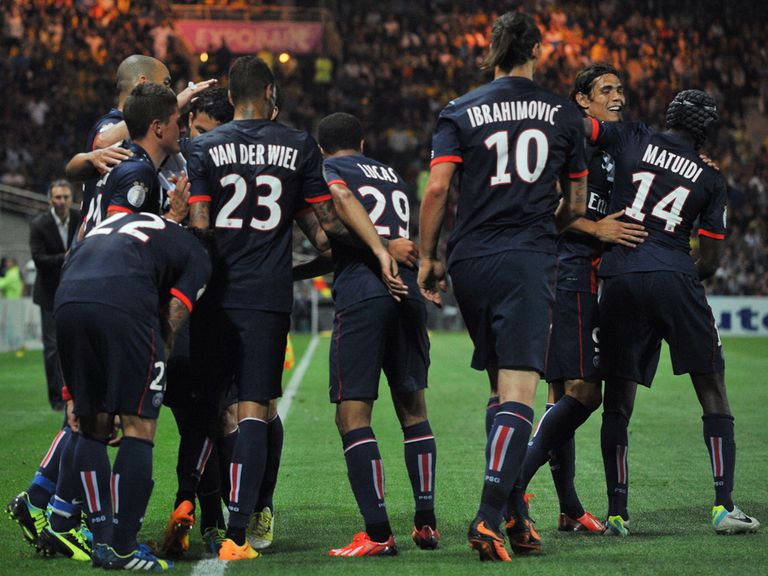 PSG celebrate their winning goal