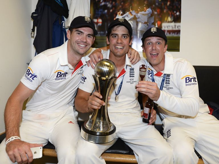 England celebrate Ashes victory in the summer.