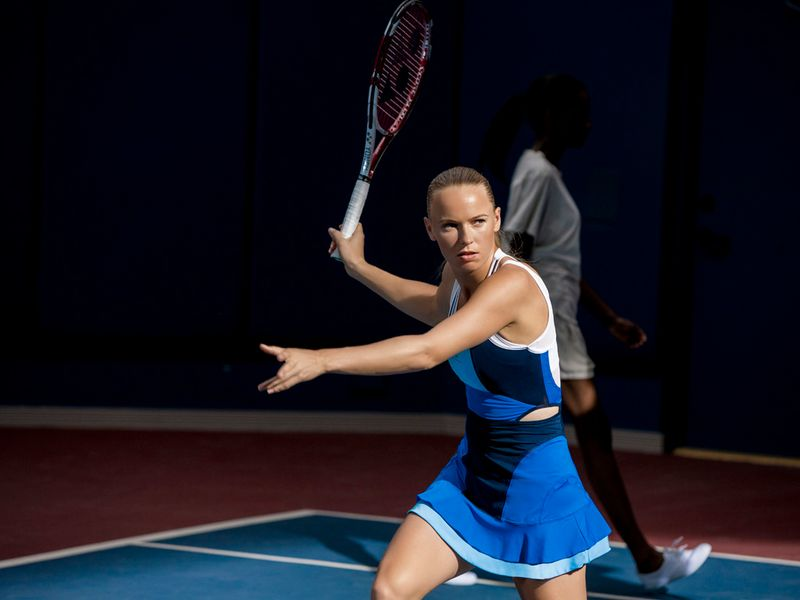 Caroline Wozniacki will be in this all-in-one dress, another from the adidas by Stella McCartney barricade range