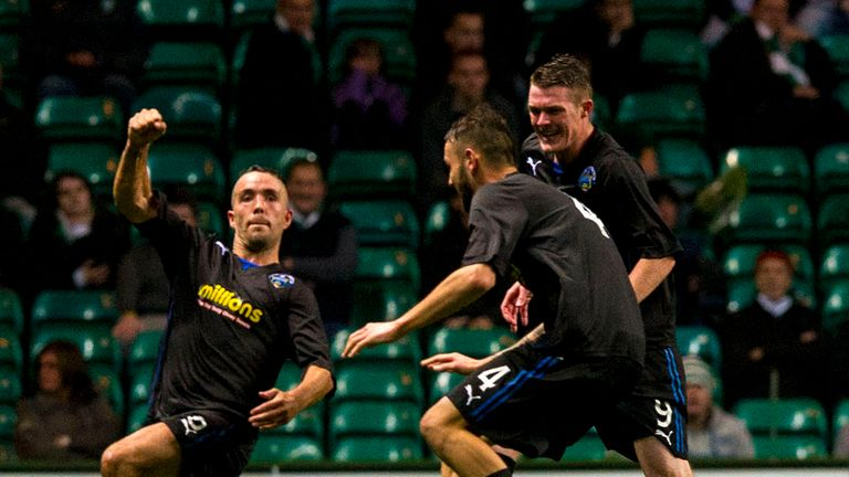 Dougie Imrie: Celebrates after scoring Morton's winner at Celtic Park
