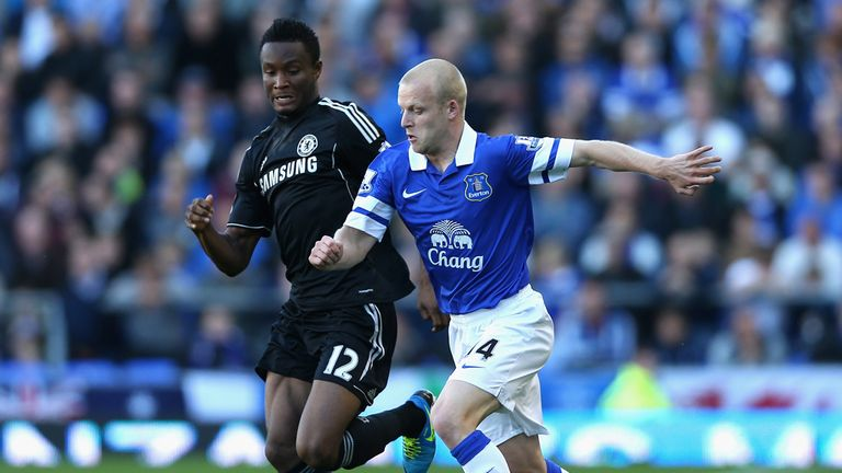 Mikel challenges goalscorer Steven Naismith in the defeat at Everton