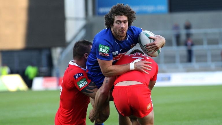 Kyle Amor: In action against the Salford City Reds earlier this season