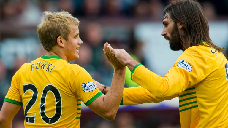 Teemu Pukki and Georgios Samaras: Celebrate at Tynecastle