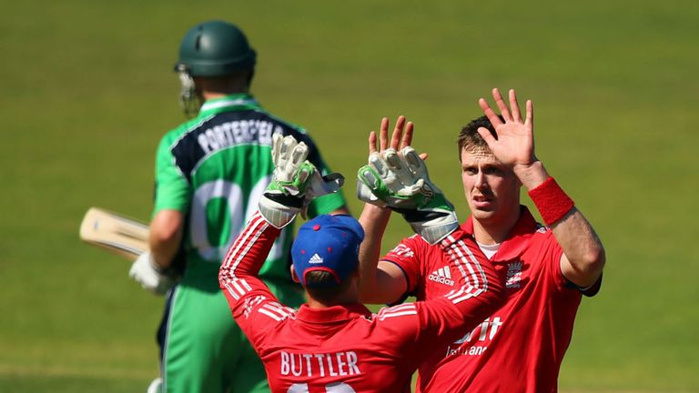 Boyd Rankin celebrates taking the wicket of Porterfield in England's victory over Ireland