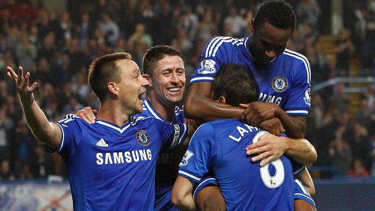 Chelsea celebrate at Stamford Bridge
