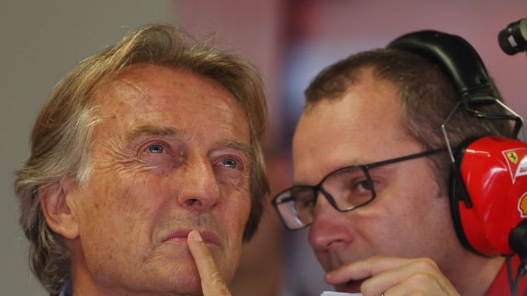 Luca di Montezemolo and Stefano Domenicali in the Ferrari garage at Monza