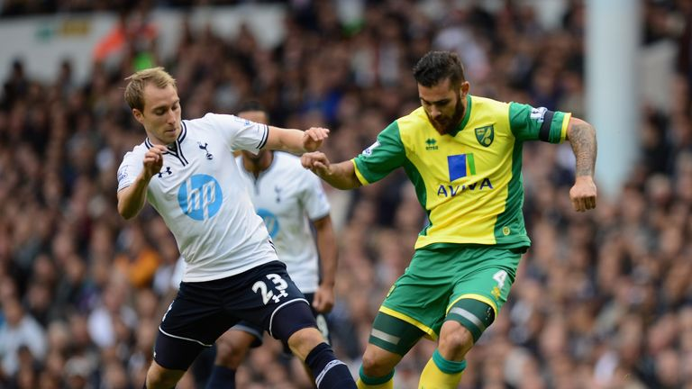 Christian Eriksen: Tussles with Bradley Johnson in midfield