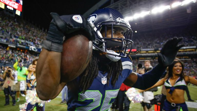 Richard Sherman celebrates after helping Seattle beat the 49ers
