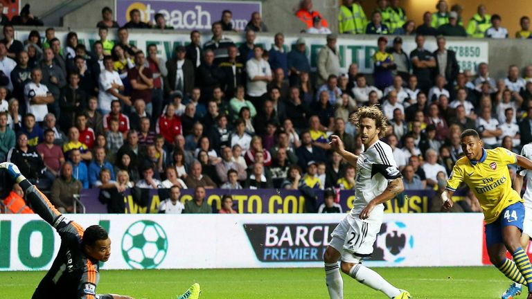 Serge Gnabry: Scores his goal against Swansea