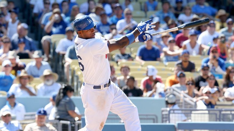 Yasiel Puig hits a home run for the Los Angeles Dodgers