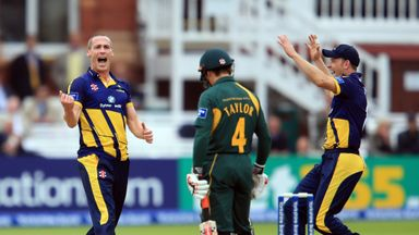Simon Jones: Glamorgan seamer sends Nottinghamshire batsman James Taylor on his way at Lord's