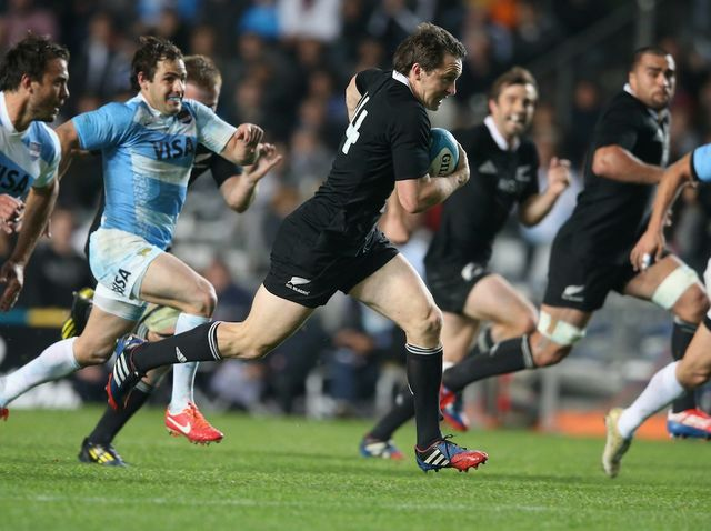 Ben Smith: Breaks away from Argentina's defence to score the first of his two tries