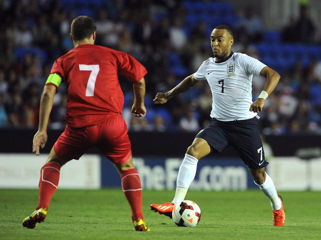 Nathan Redmond in action for England.