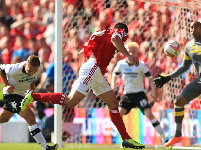 Jack Hobbs scores the only goal for Forest