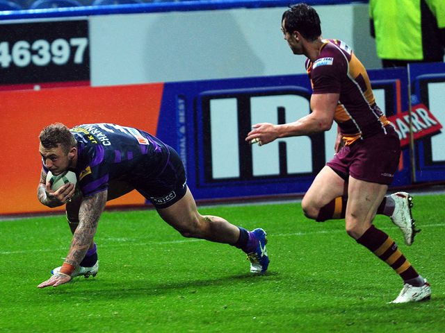 Josh Charnley goes in for a Wigan try