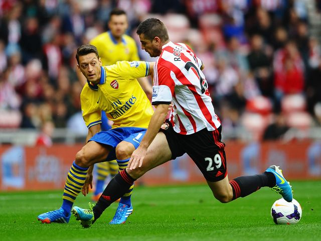Mesut Ozil in action for Arsenal at the Stadium of Light