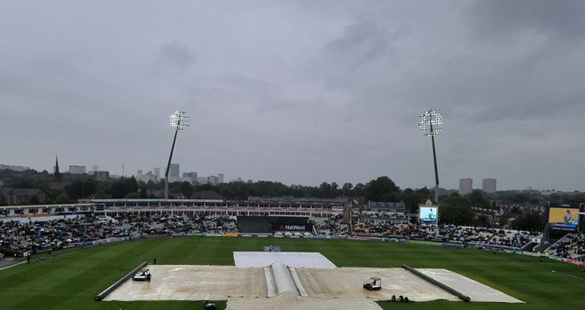 Edgbaston: Spent much of the day under covers due to the bad weather