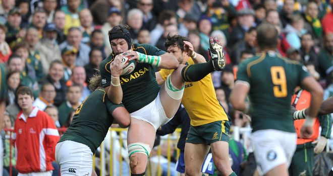 Flip Van der Merwe in action against Australia on Saturday
