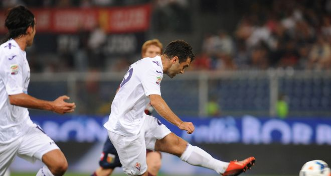 Giuseppe Rossi scores his first goal of the match.