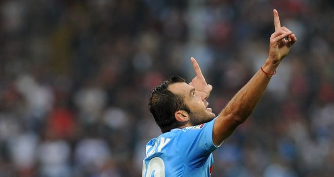 Goran Pandev of Napoli celebrates