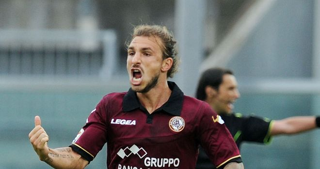 Paulinho celebrates his goal for Livorno