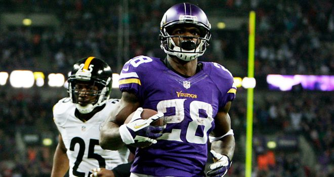 Adrian Peterson ran in two touchdowns for Minnesota