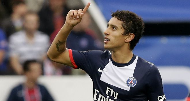 Paris Saint Germain's Brazilian defender Marquinhos celebrates