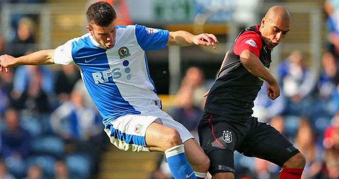 James Vaughan (R) drew a blank against Grant Hanley and Blackburn