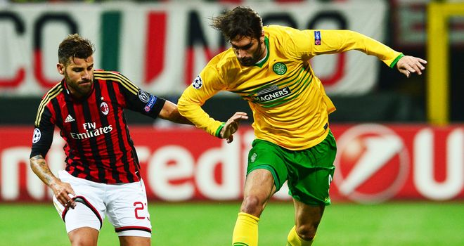 Giorgios Samaras: The Celtic striker tussles with Antonio Nocerino