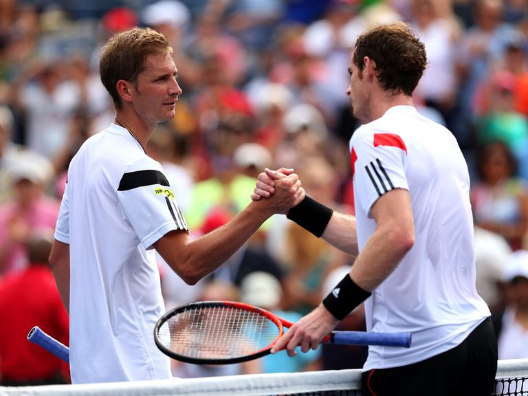 Andy Murray (right): Won in straight sets