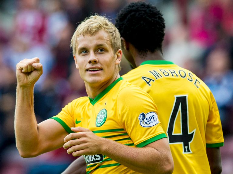 Teemu Pukki celebrates his goal for Celtic